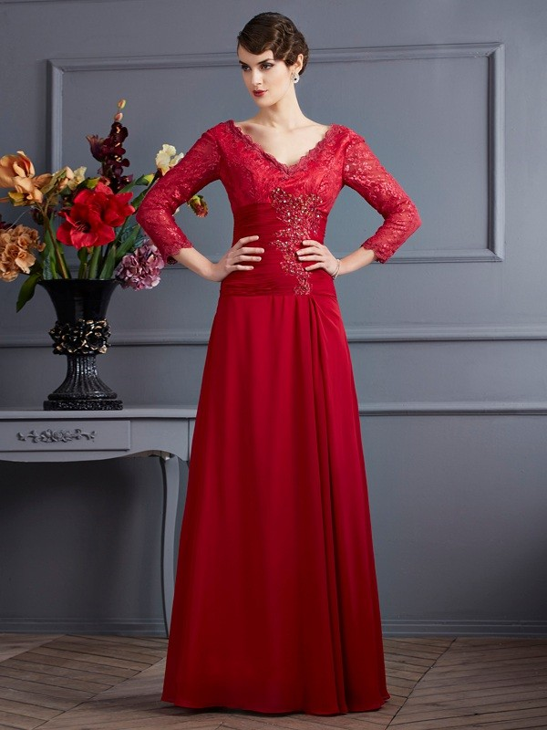 Sheath Chiffon V-neck 3/4 Sleeves Floor-Length With Lace Dresses