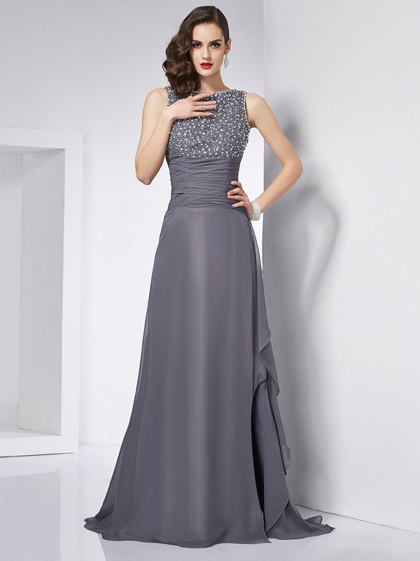 A-Line Chiffon Jewel Sleeveless Sweep/Brush Train With Beading Dresses