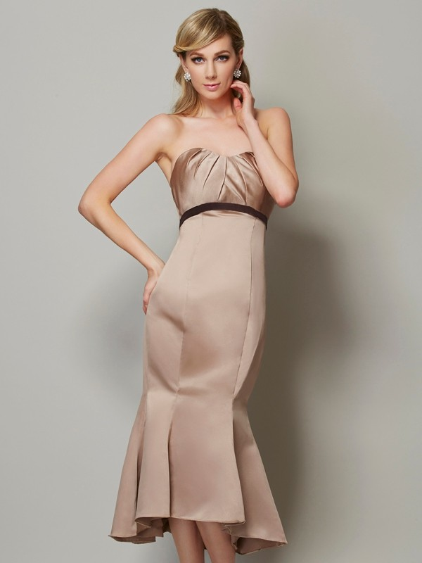 Sheath Satin Strapless Sleeveless Tea-Length With Sash/Ribbon/Belt Dresses