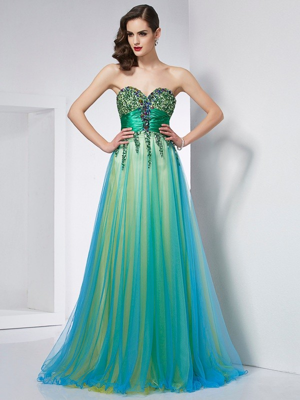 Ball Gown Elastic Woven Satin Sweetheart Sleeveless Sweep/Brush Train With Ruffles Dresses