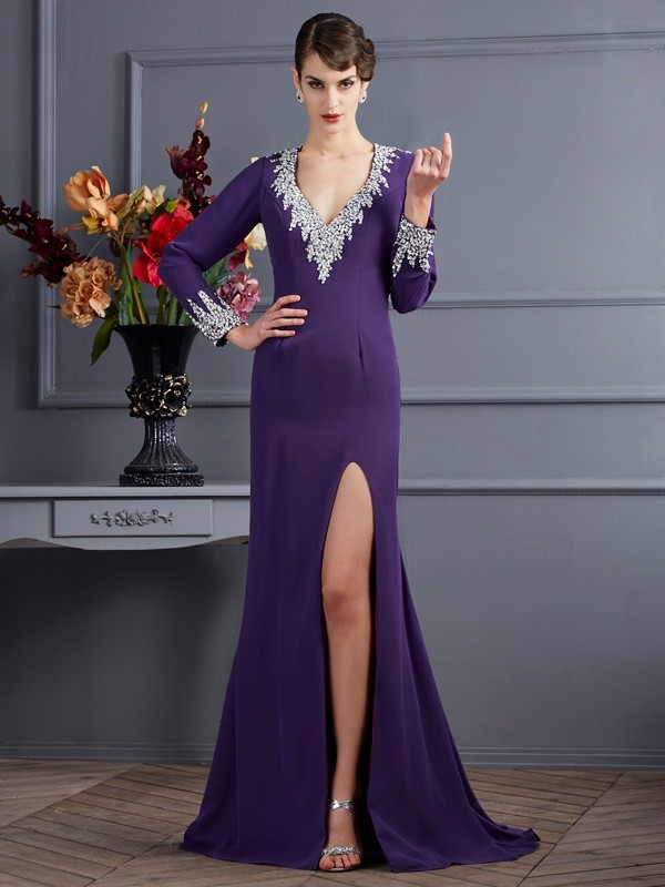 Mermaid Chiffon V-neck Long Sleeves Sweep/Brush Train With Beading Dresses