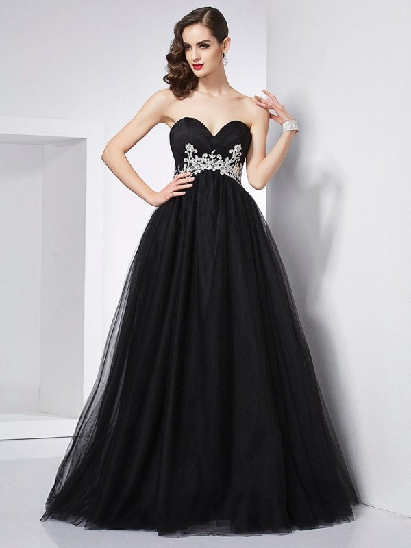 Ball Gown Net Sweetheart Sleeveless Floor-Length With Applique Quinceanera Dresses
