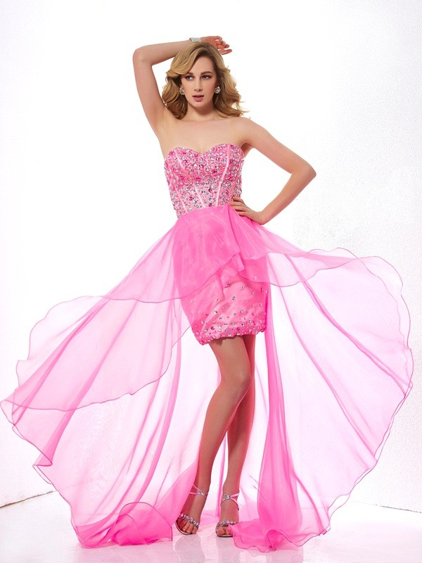 A-Line Organza Sweetheart Sleeveless Asymmetrical With Beading Dresses