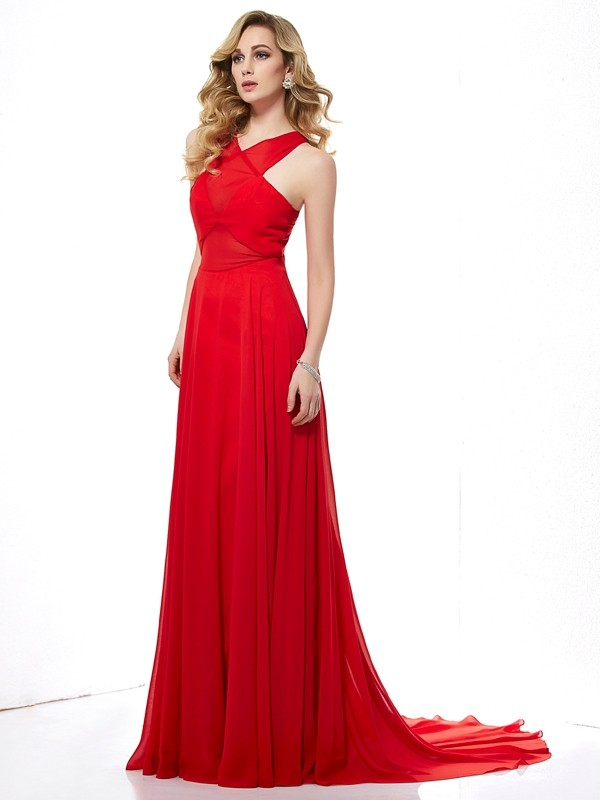 A-Line Chiffon Halter Sleeveless Sweep/Brush Train With Ruched Dresses