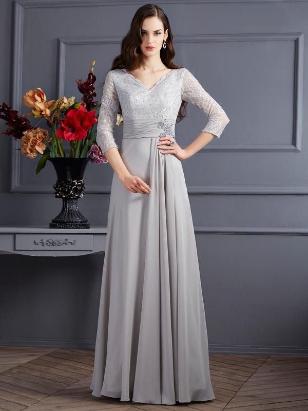 A-Line Chiffon V-neck 3/4 Sleeves Floor-Length With Applique Mother of the Bride Dresses