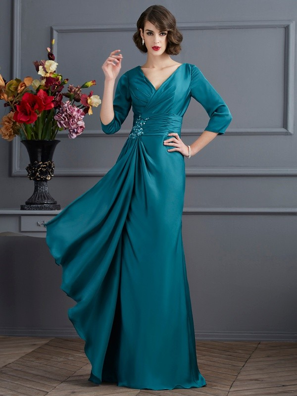 A-Line Chiffon V-neck 3/4 Sleeves Floor-Length With Beading Mother of the Bride Dresses