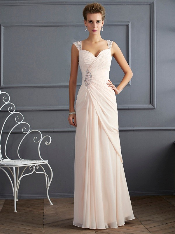 Sheath Chiffon Straps Sleeveless Floor-Length With Beading Dresses