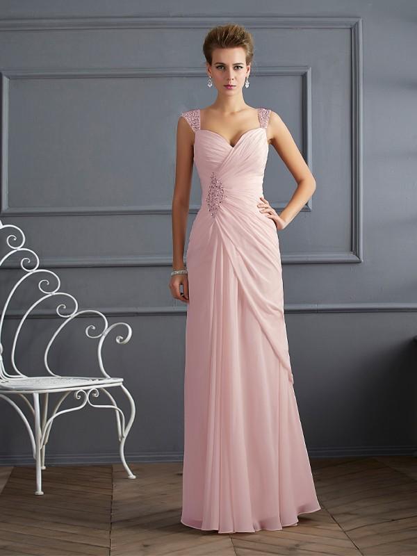 Sheath Chiffon Straps Sleeveless Floor-Length With Beading Dresses