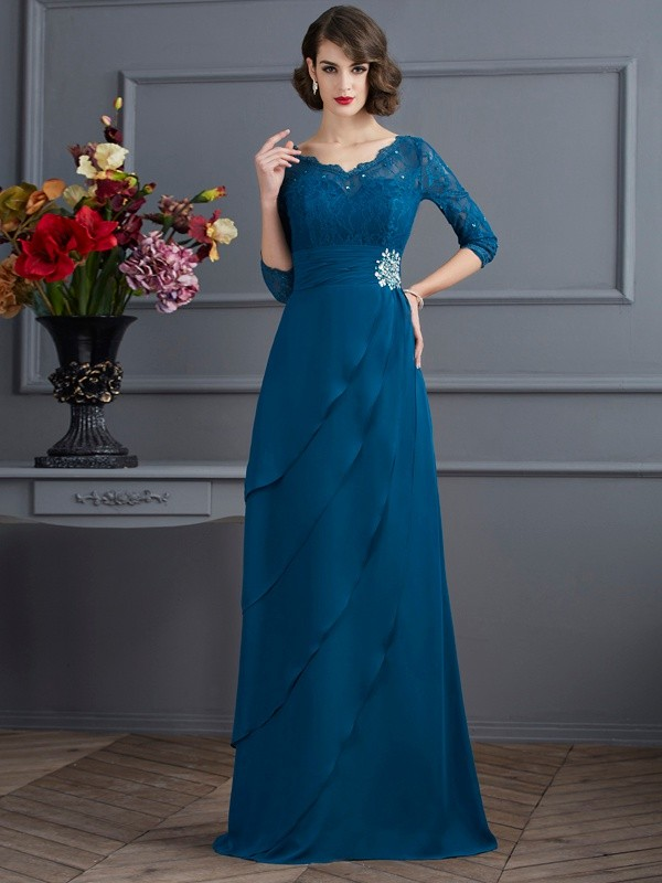 A-Line Chiffon V-neck 3/4 Sleeves Floor-Length With Layers Mother of the Bride Dresses