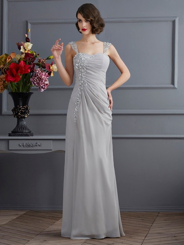 Mermaid Chiffon Straps Sleeveless Floor-Length With Beading Dresses