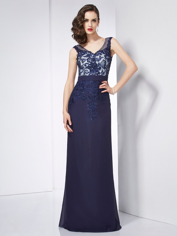 Sheath Chiffon V-neck Sleeveless Floor-Length With Beading Dresses