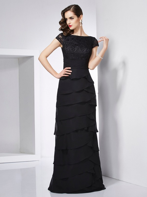Sheath Chiffon Scoop Short Sleeves Floor-Length With Layers Dresses