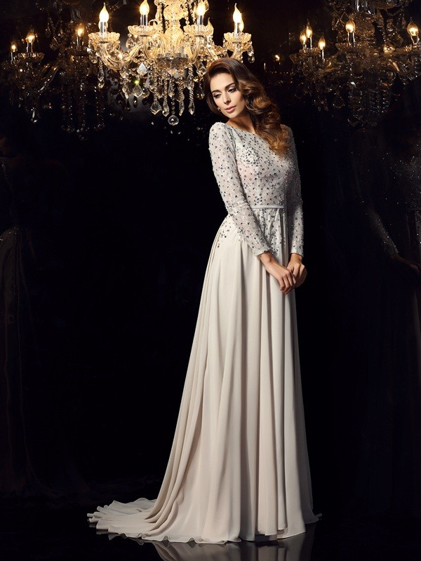 A-Line Chiffon Scoop Long Sleeves Court Train With Beading Dresses