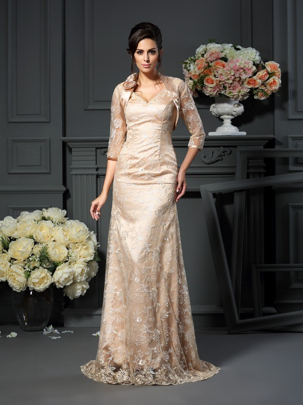 A-Line Elastic Woven Satin V-neck Sleeveless Floor-Length With Lace Mother of the Bride Dresses