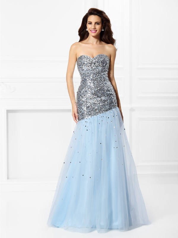 Mermaid Satin Sweetheart Sleeveless Floor-Length With Sequin Dresses
