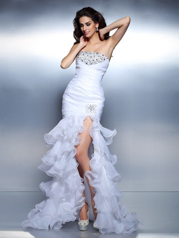 Mermaid Organza Strapless Sleeveless Floor-Length With Beading Dresses