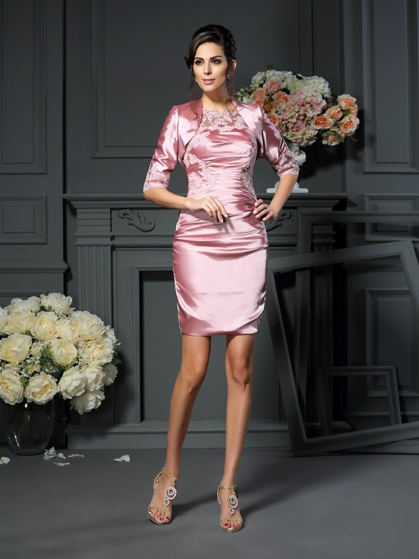 Sheath Elastic Woven Satin Scoop Sleeveless Short/Mini With Applique Mother of the Bride Dresses