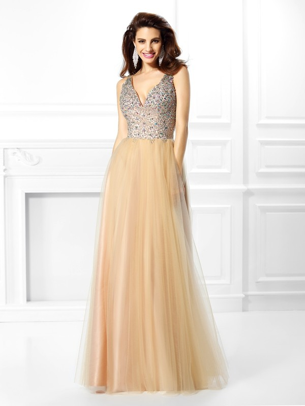 Ball Gown Satin V-neck Sleeveless Floor-Length With Beading Quinceanera Dresses