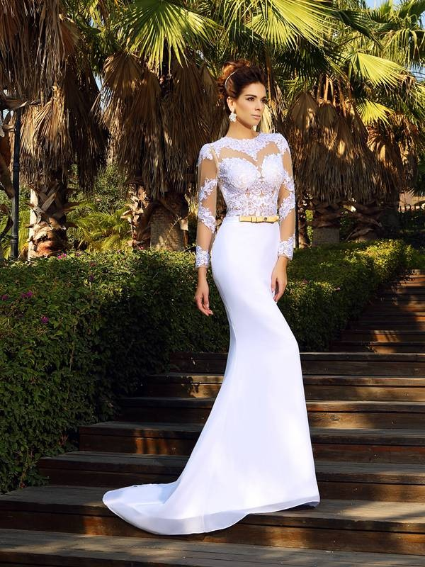 Sheath Satin Scoop Long Sleeves Court Train With Applique Wedding Dresses