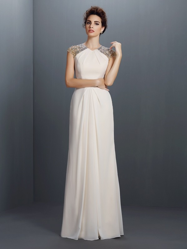 A-Line Chiffon Jewel Sleeveless Floor-Length With Beading Dresses