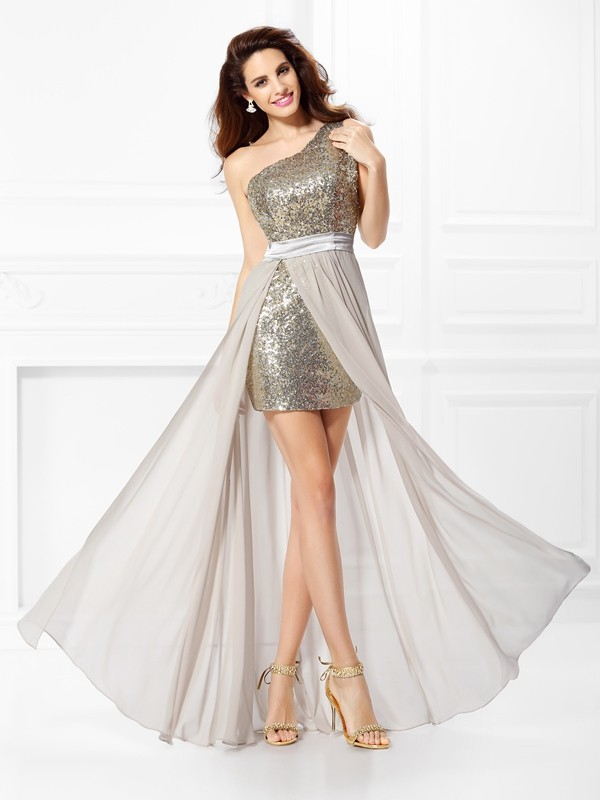 A-Line Chiffon One-Shoulder Sleeveless Floor-Length With Sequin Dresses