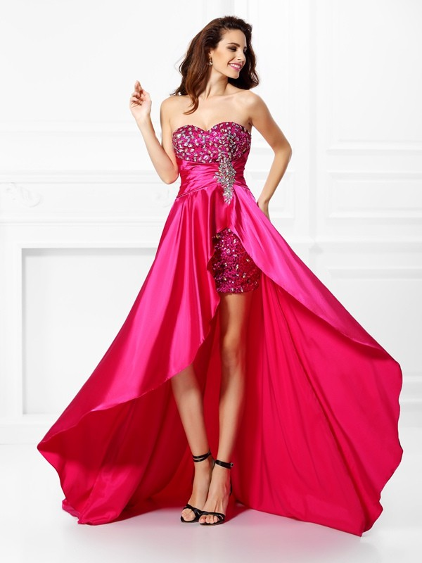 A-Line Elastic Woven Satin Sweetheart Sleeveless Asymmetrical With Beading Dresses