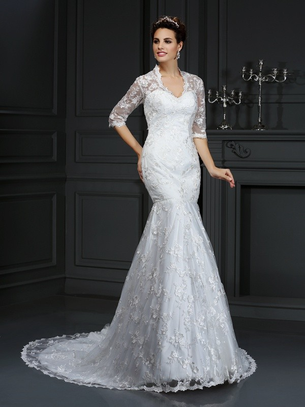 Mermaid Lace V-neck 1/2 Sleeves Court Train With Lace Wedding Dresses