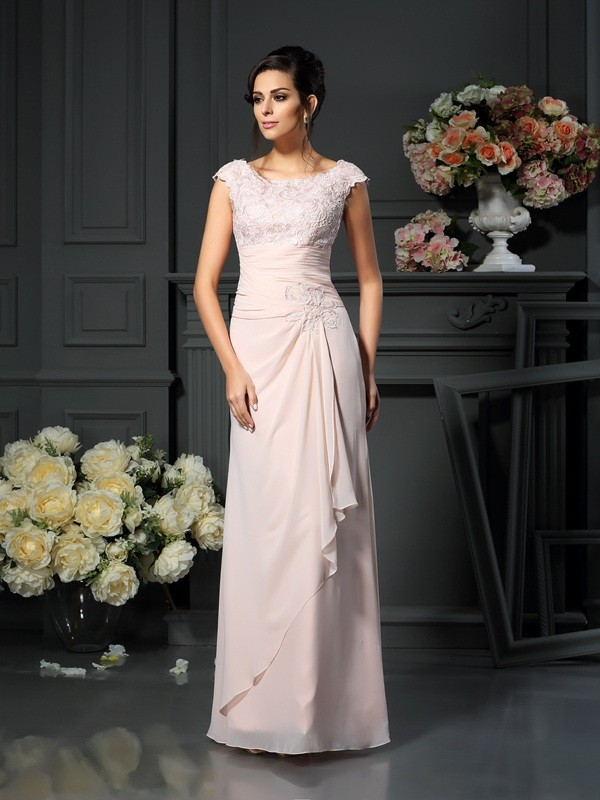 A-Line Chiffon Scoop Sleeveless Floor-Length With Lace Mother of the Bride Dresses