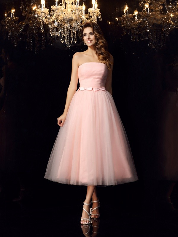 Ball Gown Satin Strapless Sleeveless Tea-Length With Sash/Ribbon/Belt Quinceanera Dresses