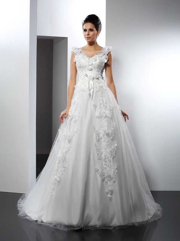 A-Line Satin Straps Sleeveless Cathedral Train With Lace Wedding Dresses