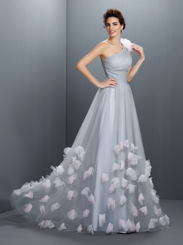 A-Line Net One-Shoulder Sleeveless Floor-Length With Hand-Made Flower Dresses