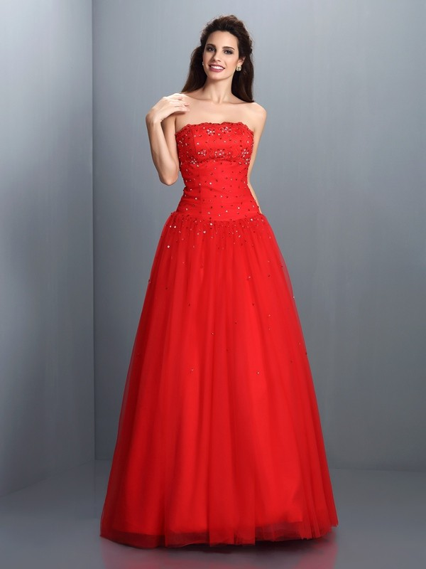 Ball Gown Organza Strapless Sleeveless Floor-Length With Beading Quinceanera Dresses