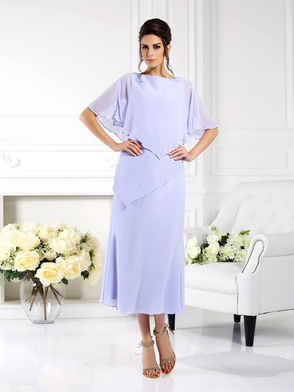 Sheath Chiffon Bateau 1/2 Sleeves Ankle-Length With Layers Mother of the Bride Dresses
