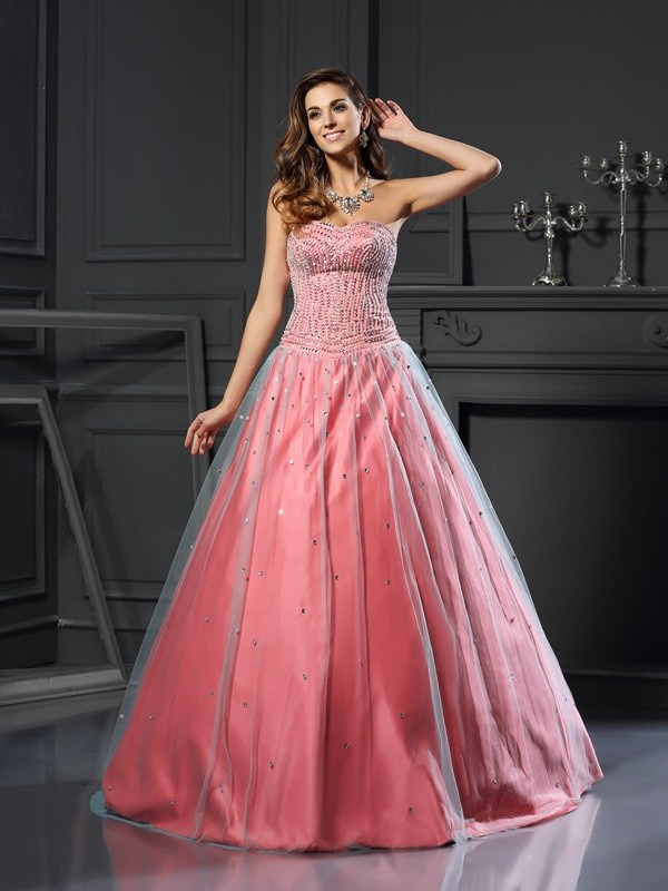 Ball Gown Satin Sweetheart Sleeveless Floor-Length With Beading Quinceanera Dresses