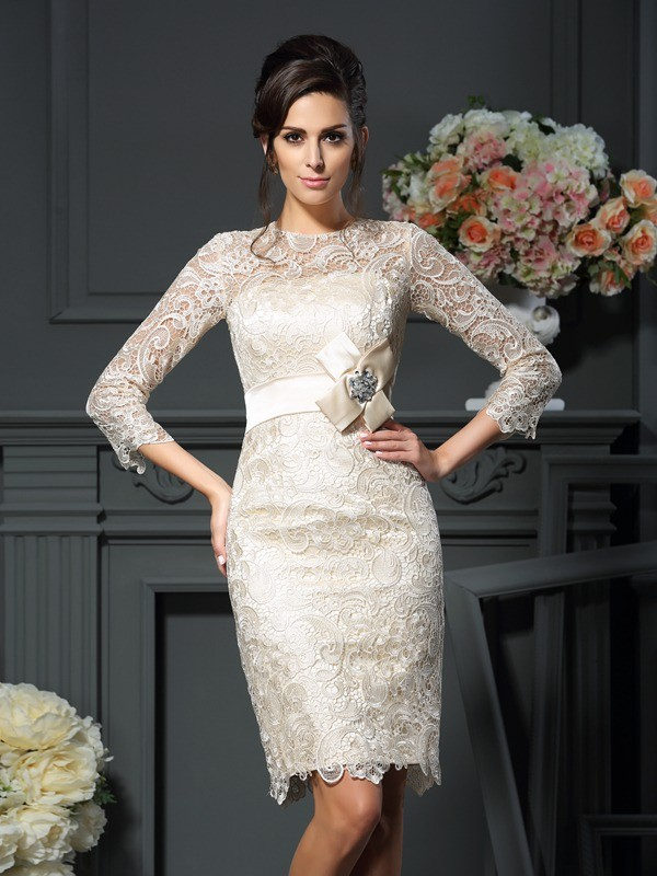 dc2e8cd174b Sheath Lace Scoop 3 4 Sleeves Short Mini With Bowknot Mother of the Bride