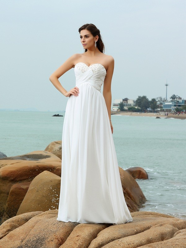 A-Line Chiffon Sweetheart Sleeveless Sweep/Brush Train With Beading Wedding Dresses