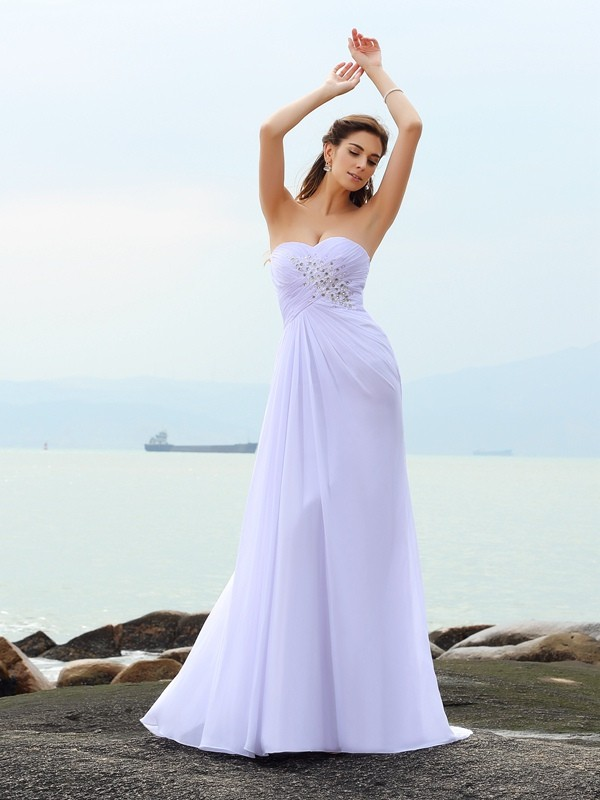 Sheath Chiffon Sweetheart Sleeveless Chapel Train With Beading Wedding Dresses