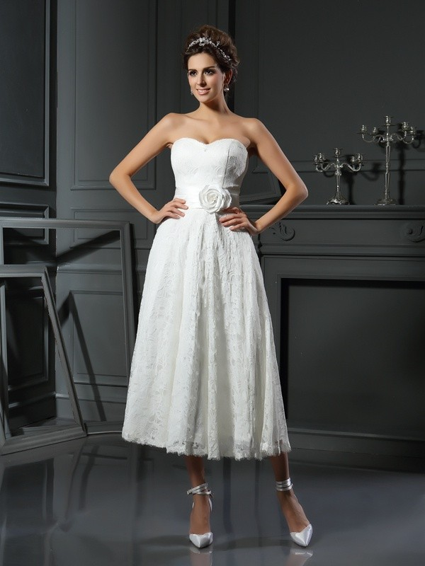 A-Line Lace Sweetheart Sleeveless Tea-Length With Lace Wedding Dresses