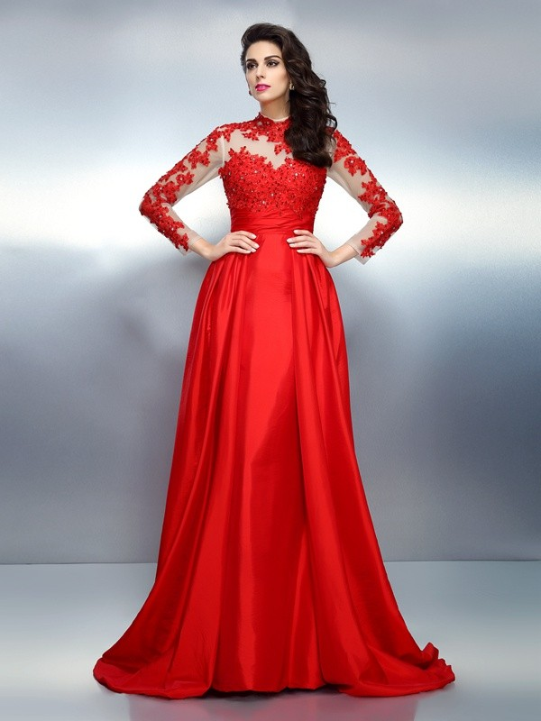 A-Line Satin High Neck Long Sleeves Sweep/Brush Train With Applique Dresses