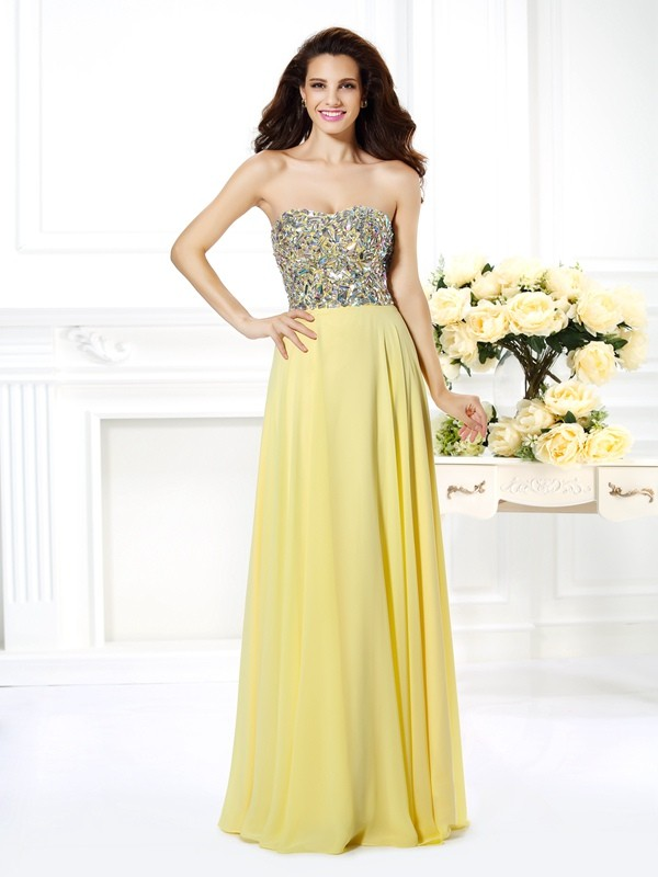 A-Line Chiffon Strapless Sleeveless Floor-Length With Beading Dresses