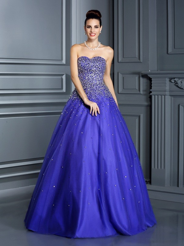 Ball Gown Net Sweetheart Sleeveless Floor-Length With Beading Quinceanera Dresses