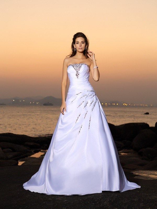A-Line Satin Strapless Sleeveless Chapel Train With Beading Wedding Dresses