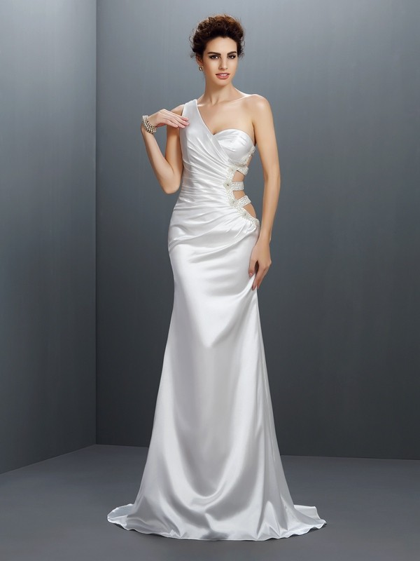 Mermaid Elastic Woven Satin One-Shoulder Sleeveless Sweep/Brush Train With Beading Dresses