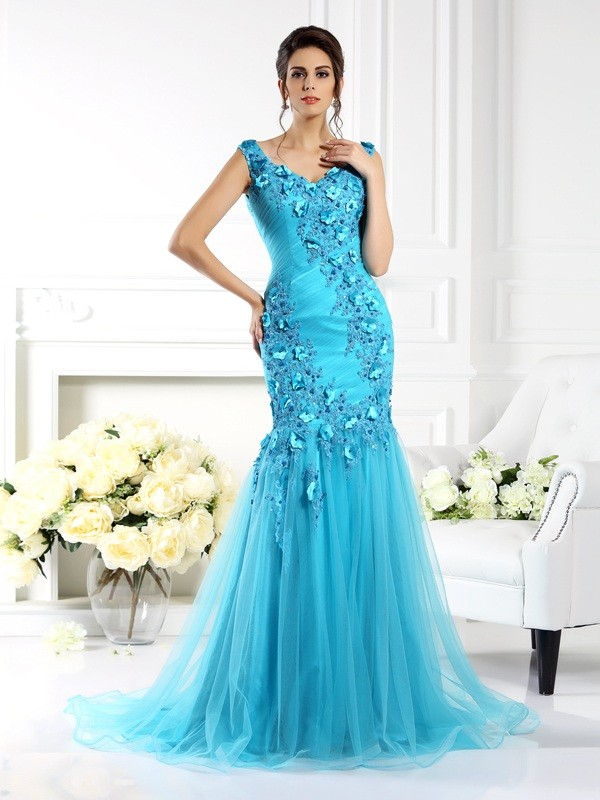 Mermaid Silk like Satin Straps Sleeveless Sweep/Brush Train With Applique Dresses
