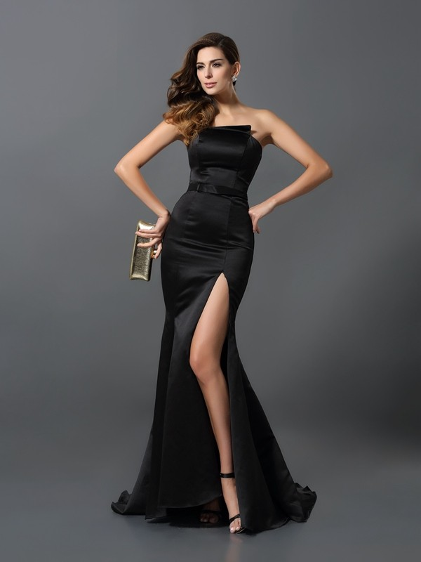Sheath Satin Strapless Sleeveless Floor-Length With Sash/Ribbon/Belt Dresses