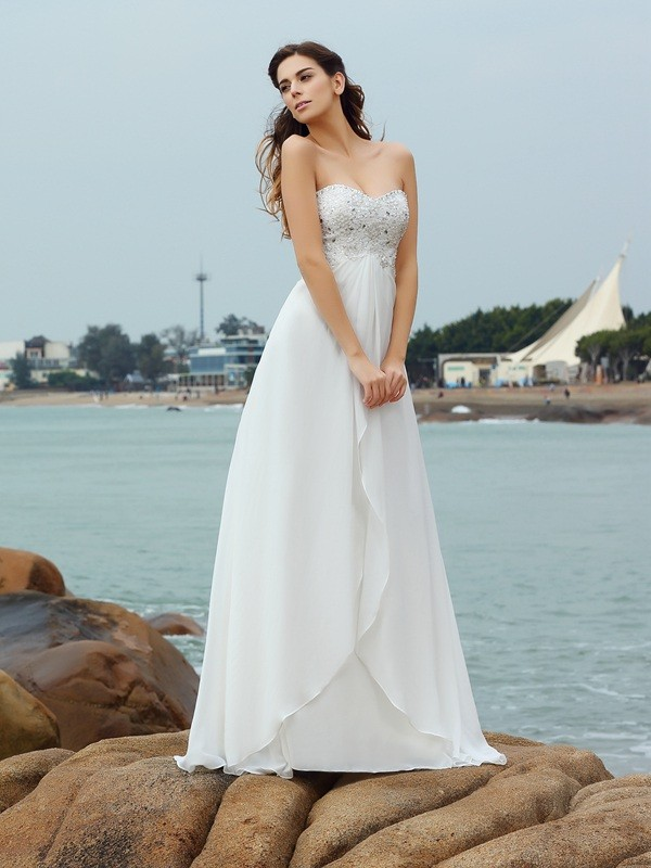 A-Line Chiffon Sweetheart Sleeveless Floor-Length With Beading Wedding Dresses