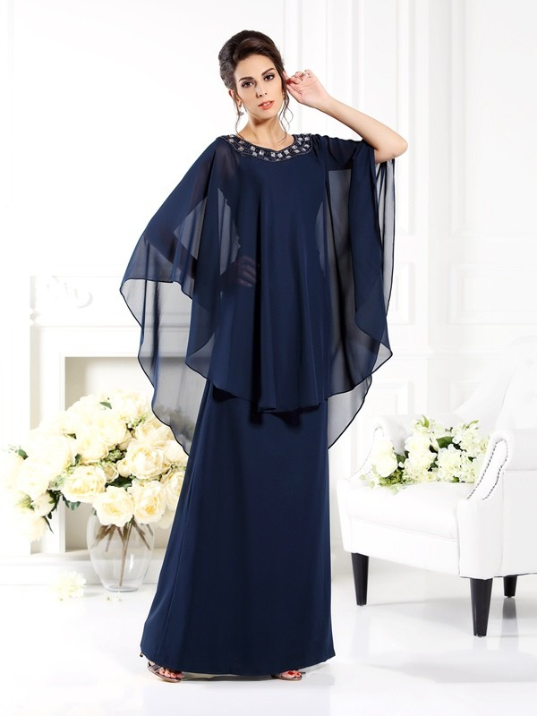 A-Line Chiffon Scoop 3/4 Sleeves Floor-Length With Beading Mother of the Bride Dresses