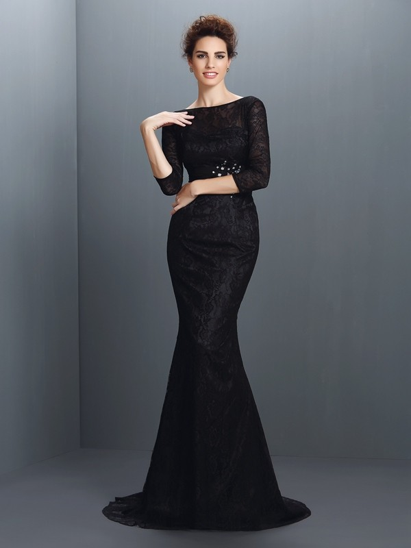 Mermaid Elastic Woven Satin Bateau 3/4 Sleeves Sweep/Brush Train With Lace Mother of the Bride Dresses