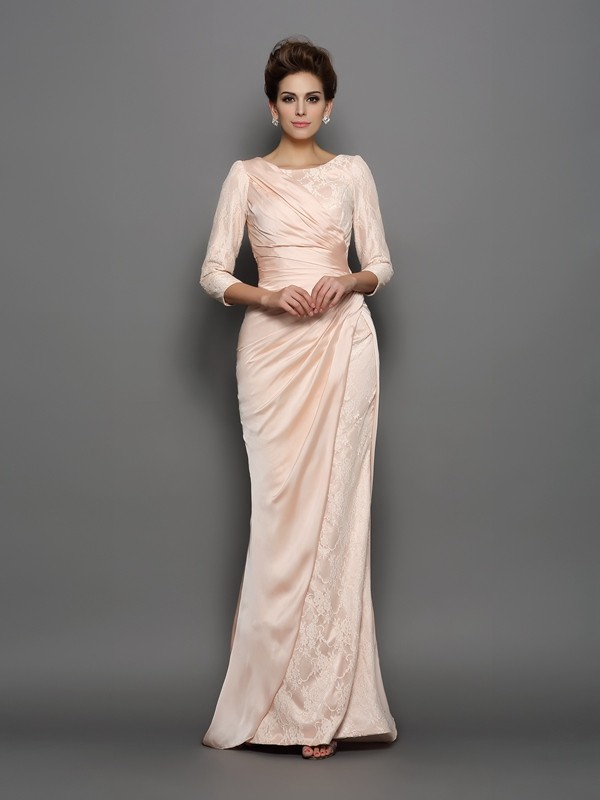Mermaid Chiffon Bateau 3/4 Sleeves Sweep/Brush Train With Lace Mother of the Bride Dresses