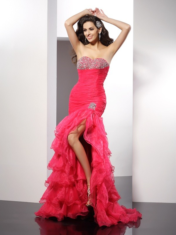 Sheath Organza Sweetheart Sleeveless Floor-Length With Beading Dresses